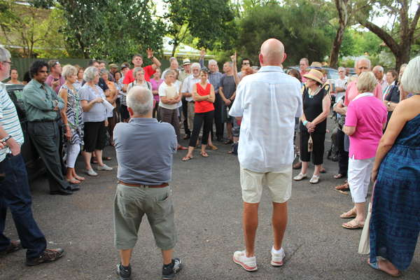 Local Councillors Isaac Pasalidis (left) and John Frogley (right) talking to local residents.