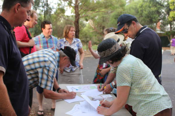 Local residents signing the petition.